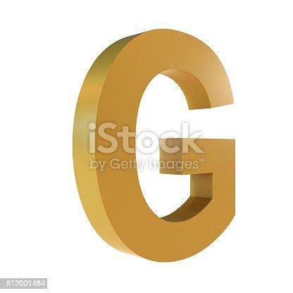 istock 3D Gold Letter G 512001484