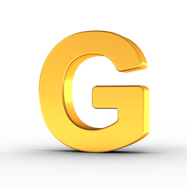 Gold Letter G with clipping path stock photo