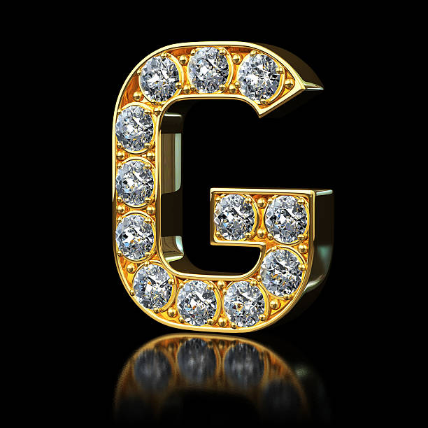 Gold Letter G With Diamonds stock photo