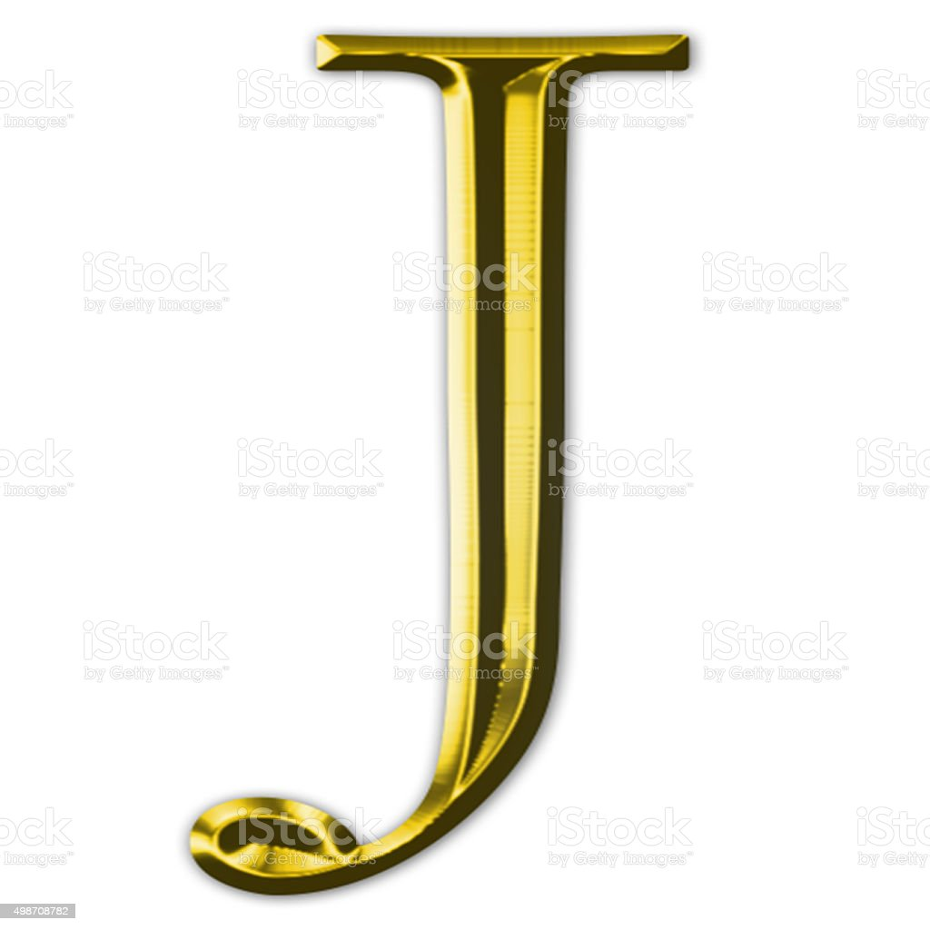 Gold letter J stock photo