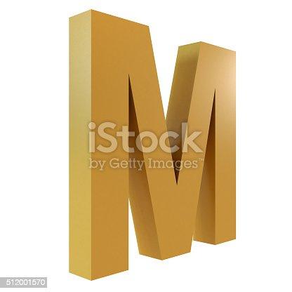 istock 3D Gold Letter M 512001570