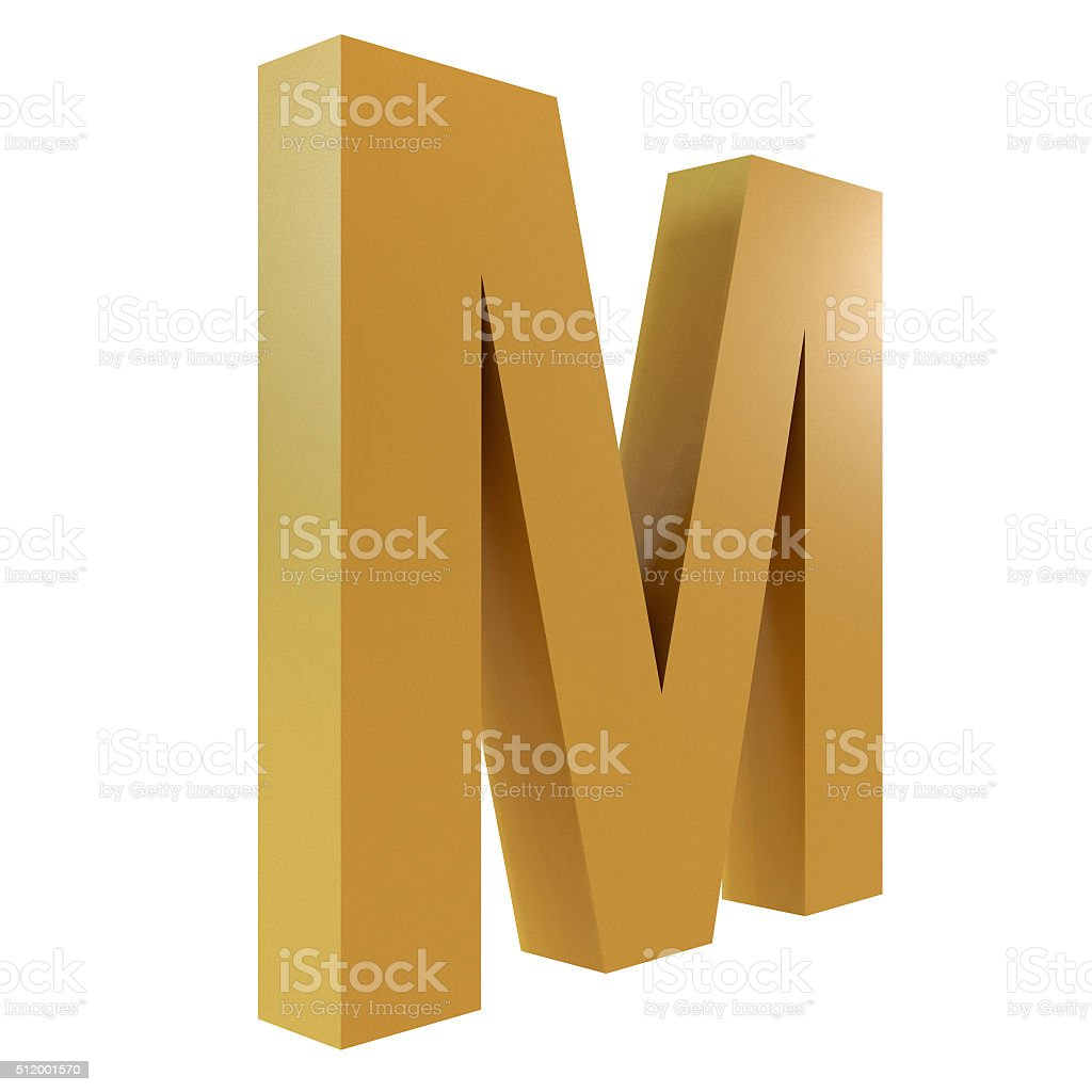 3D Gold Letter M stock photo