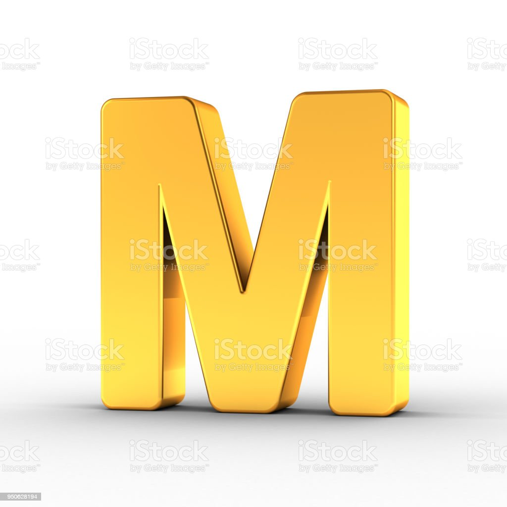Gold Letter M with clipping path stock photo