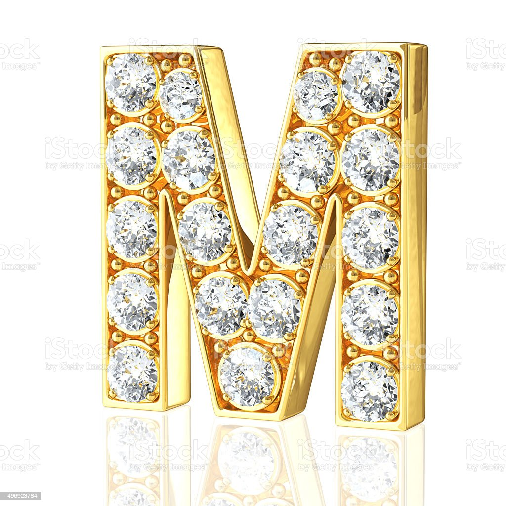 Gold Letter M With Diamonds stock photo