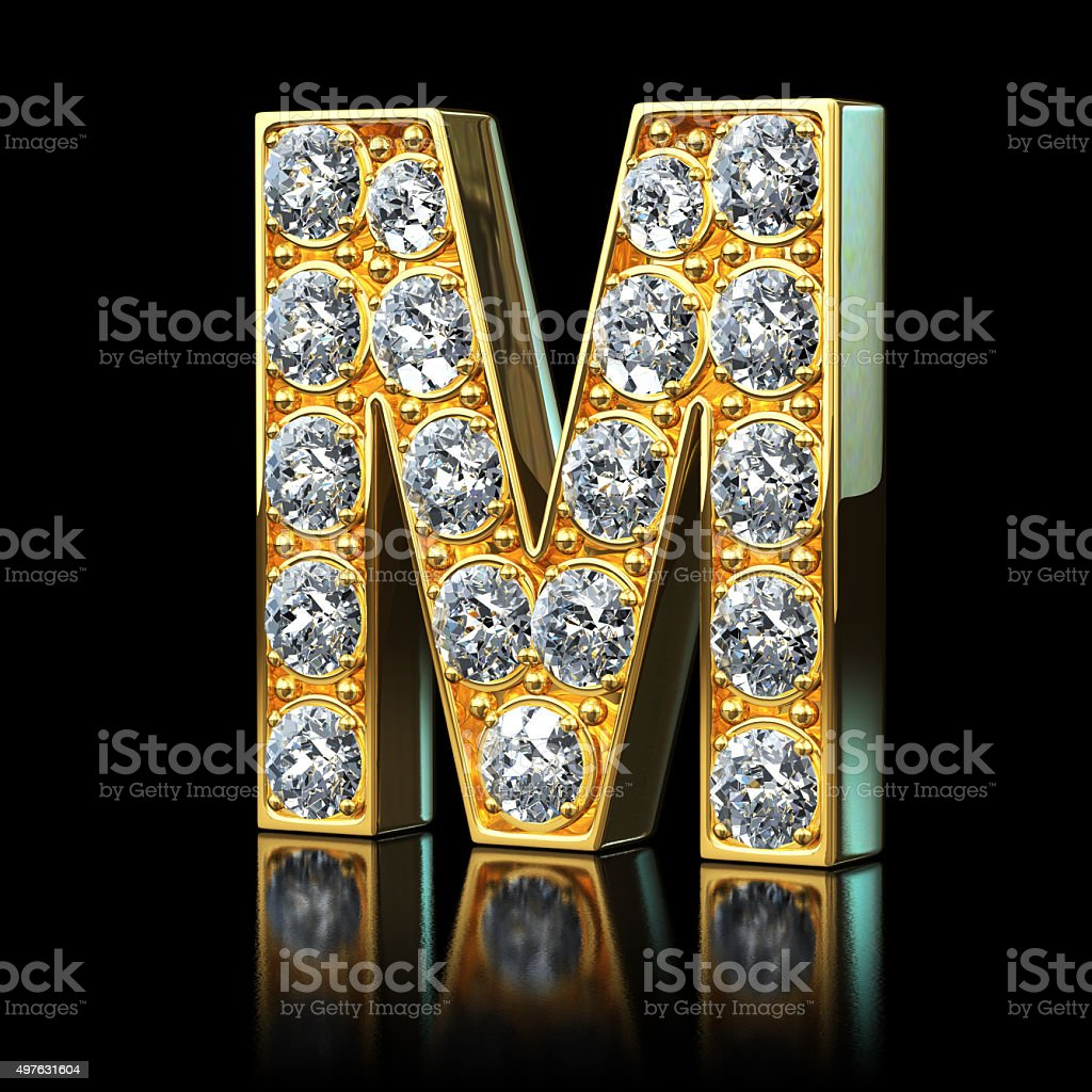Gold Letter M With Diamonds Royalty Free Stock Photo