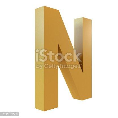 istock 3D Gold Letter N 512001582