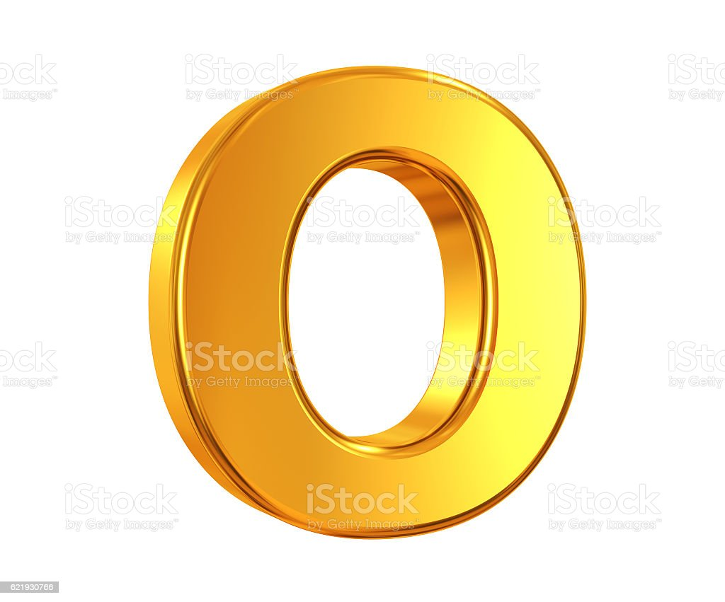 Dourado Letra O - foto de acervo