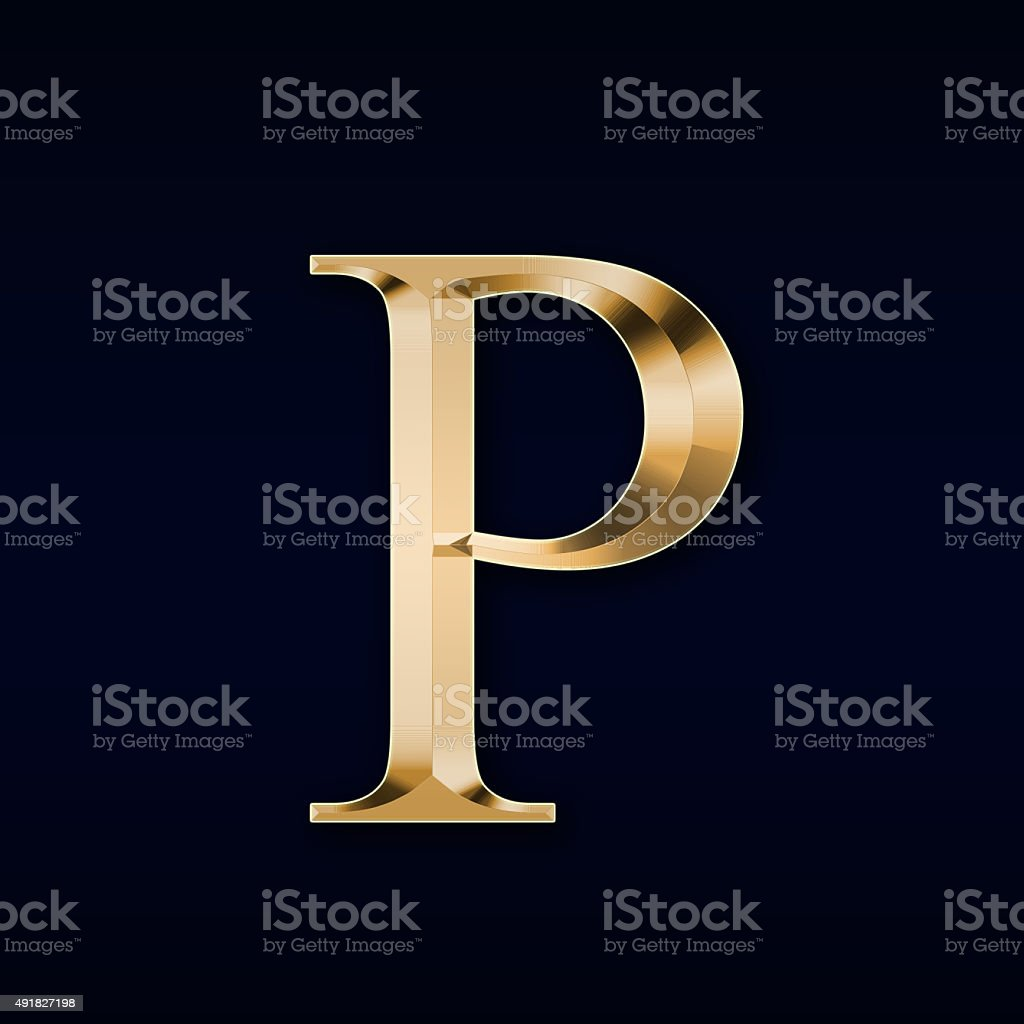 Gold letter 'P' on a black background stock photo