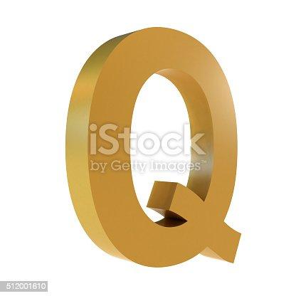 istock 3D Gold Letter Q 512001610