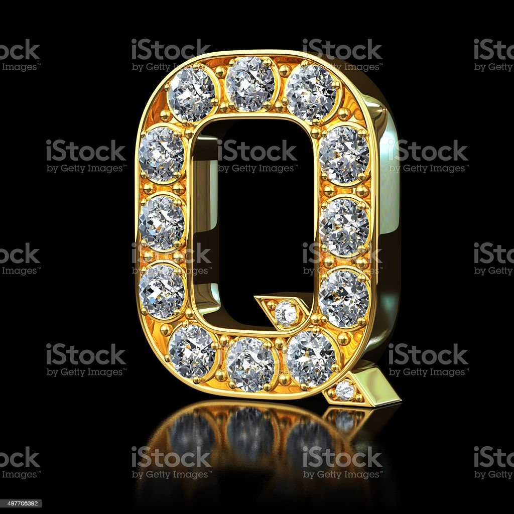 Gold Letter Q With Diamonds stock photo