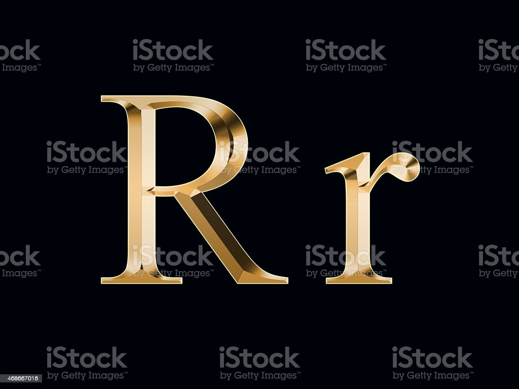 Gold Letter R On A Black Background Stock Photo Download Image Now Istock