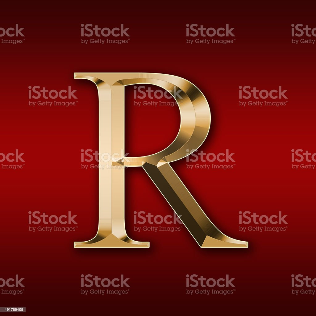 Gold Letter R On A Red Background Stock Photo - Download