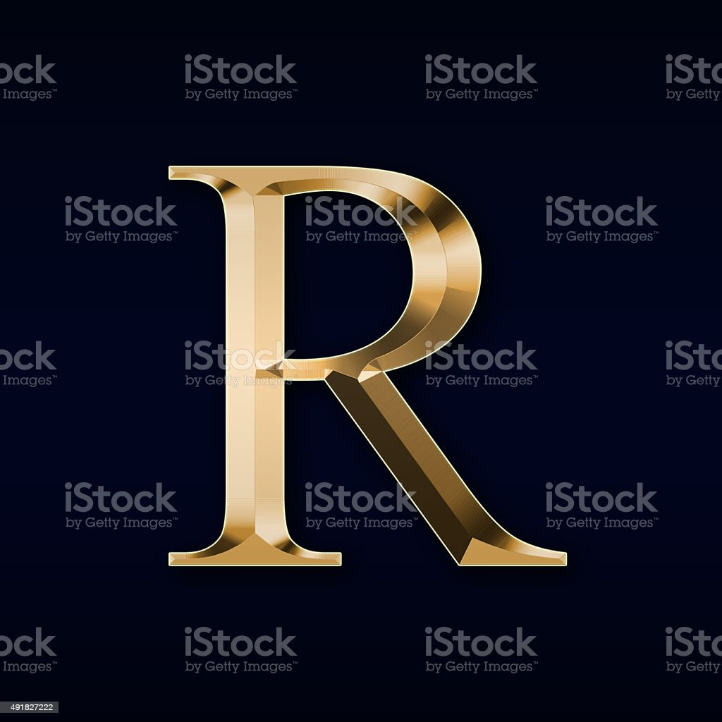 Gold Letter U0027Ru0027 On A Red Background Stock Photo