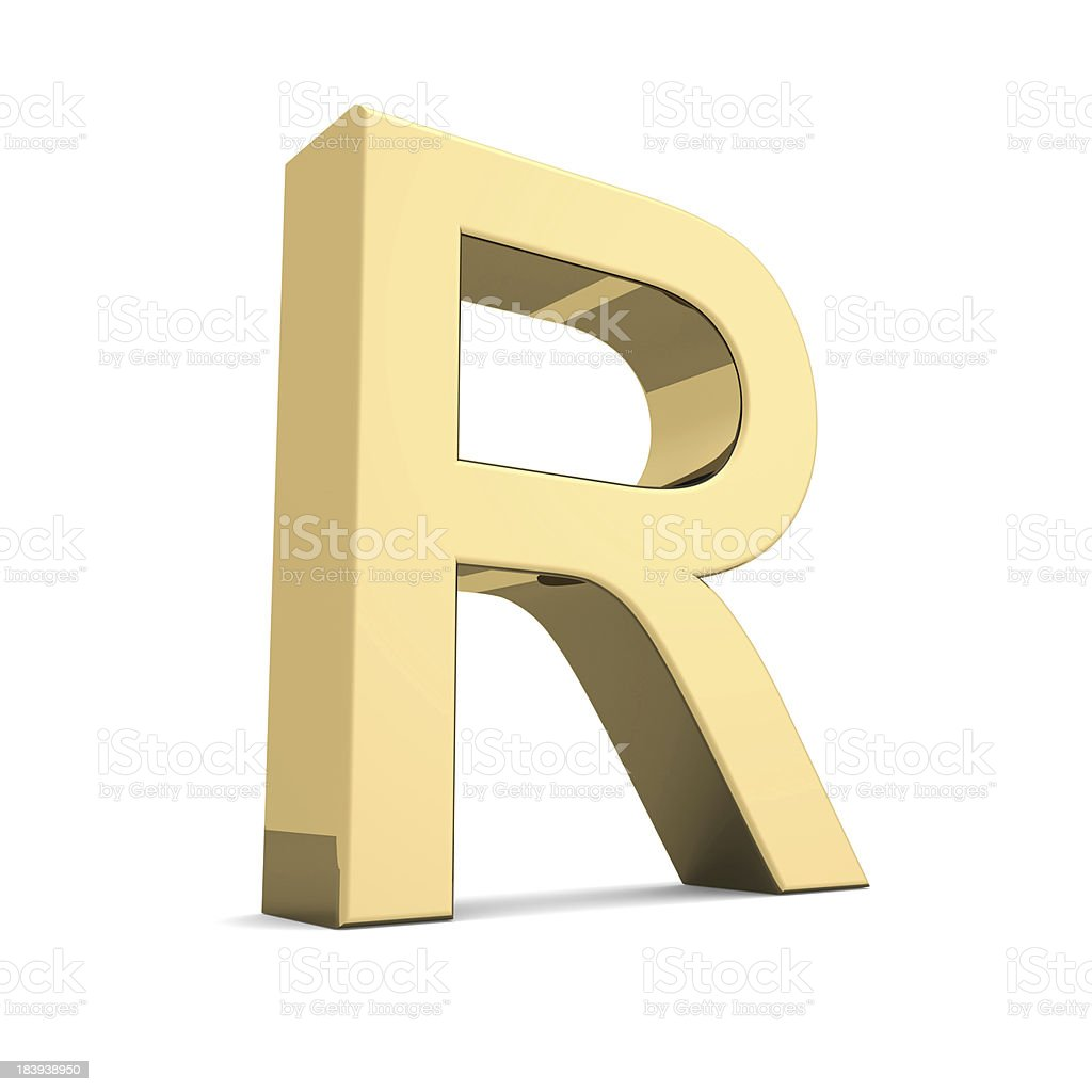 Gold letter R royalty-free stock photo