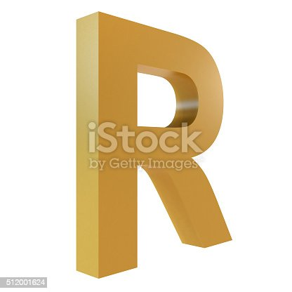 istock 3D Gold Letter R 512001624