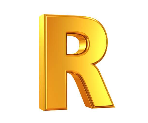 Oro Lettera R - foto stock