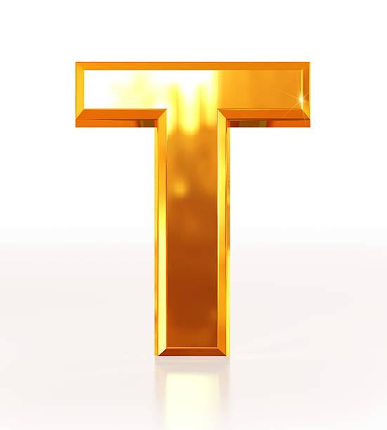 gold buchstabe t - t stock-fotos und bilder