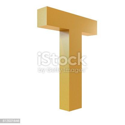 istock 3D Gold Letter T 512001646