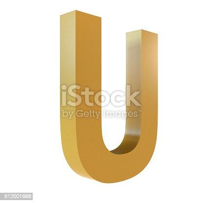 istock 3D Gold Letter U 512001668