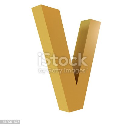 istock 3D Gold Letter V 512001678