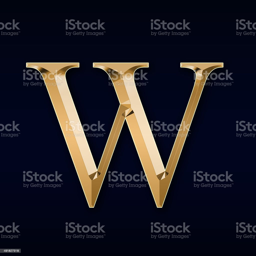 Gold letter 'W' on a black background stock photo