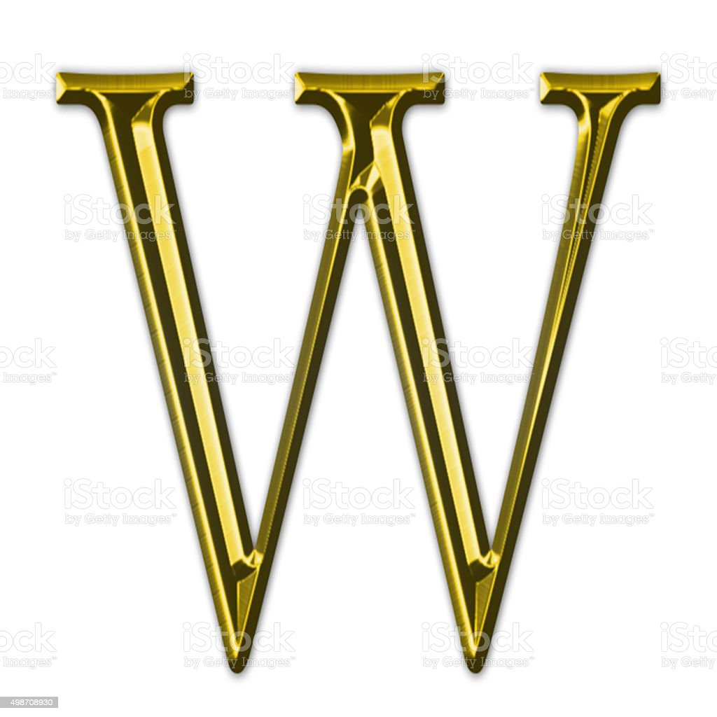 Gold letter W stock photo