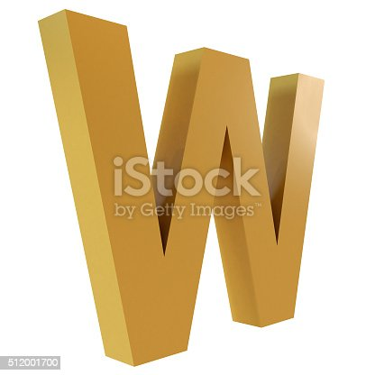 istock 3D Gold Letter W 512001700
