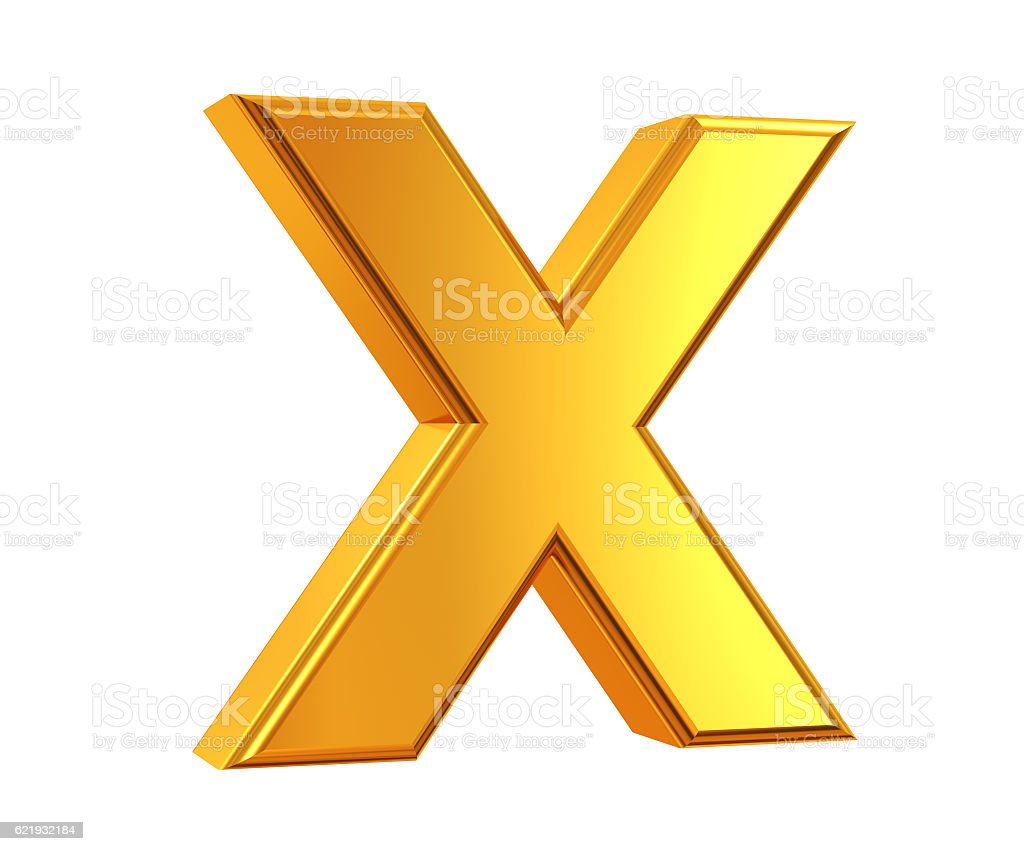 Gold Letter X stock photo