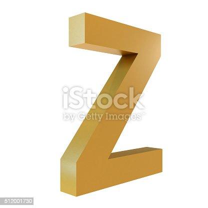 istock 3D Gold Letter Z 512001730