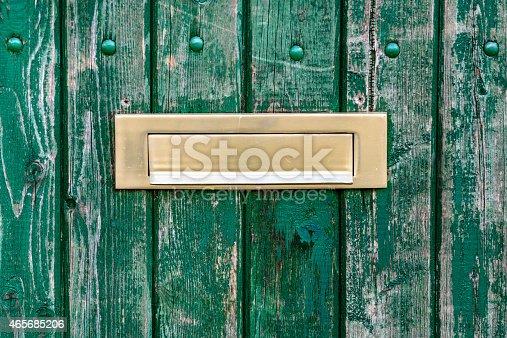 104742848istockphoto gold Letterbox  in door 465685206