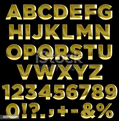 istock Gold letters and numbers alphabet 469706554