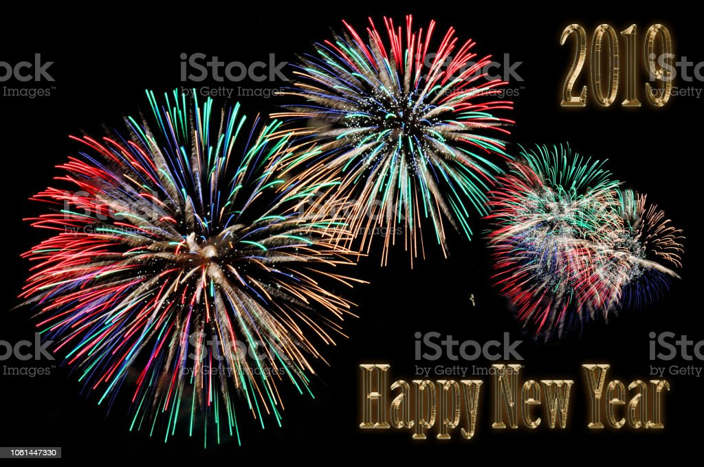 Gold Letters Happy New Year 2019 And Flashes Of Fireworks Stock