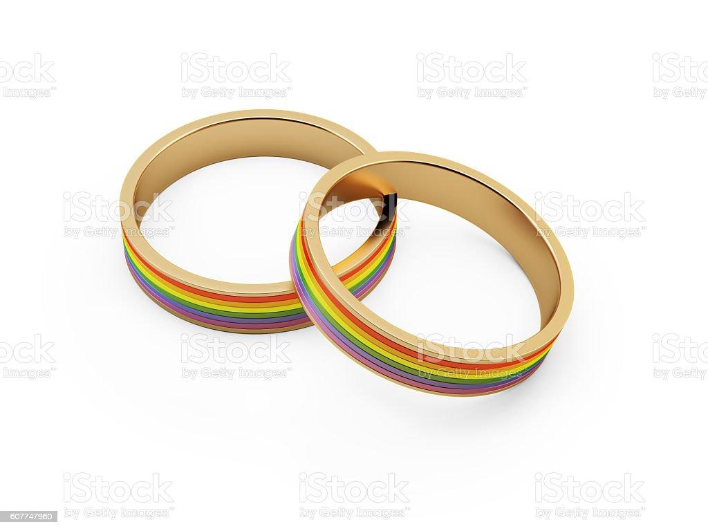 gold lgbt wedding rings royalty free stock photo - Lgbt Wedding Rings