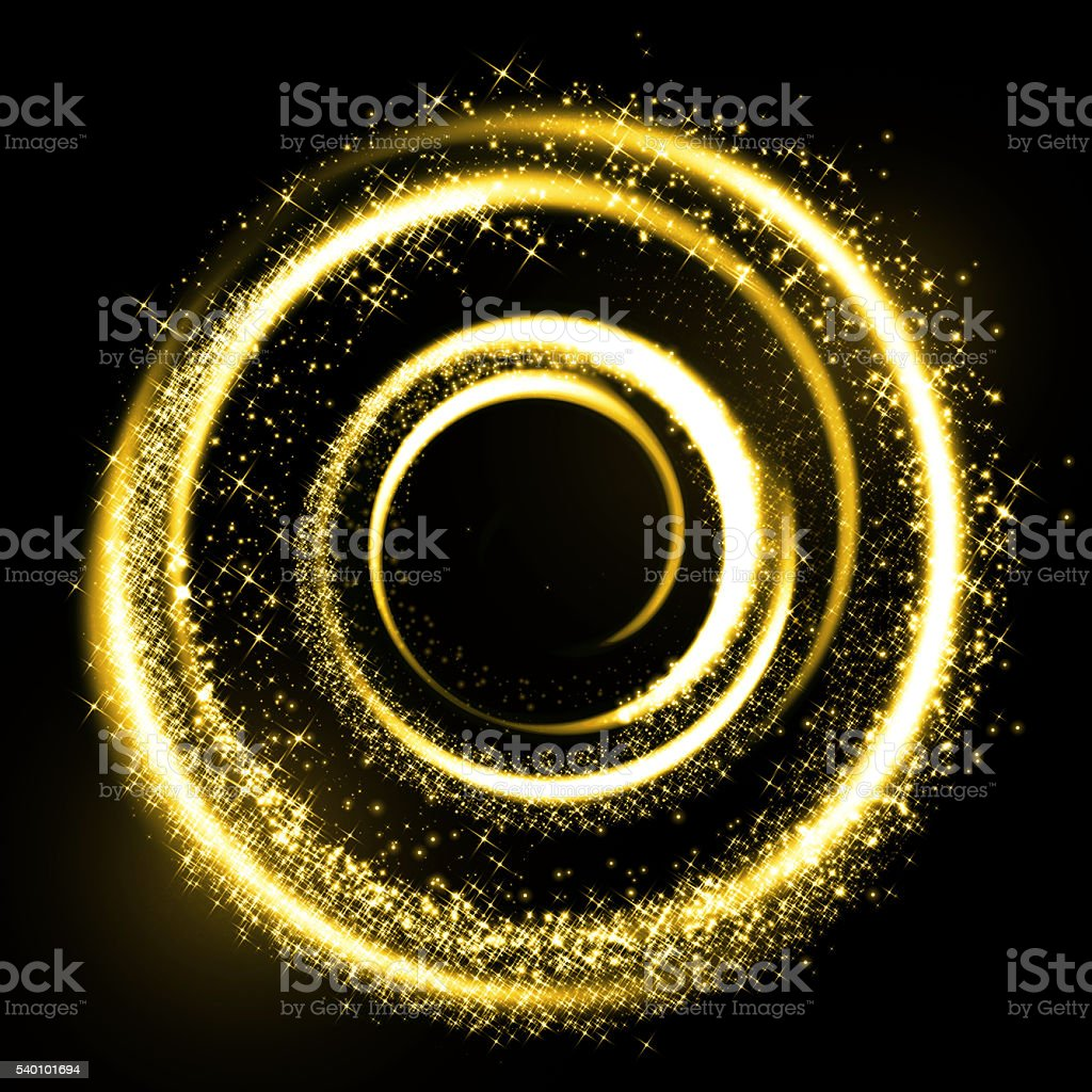 Gold light trail circle. Glitter sparkle swirl. stock photo