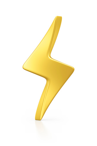 isolated gold lightning.3d render.