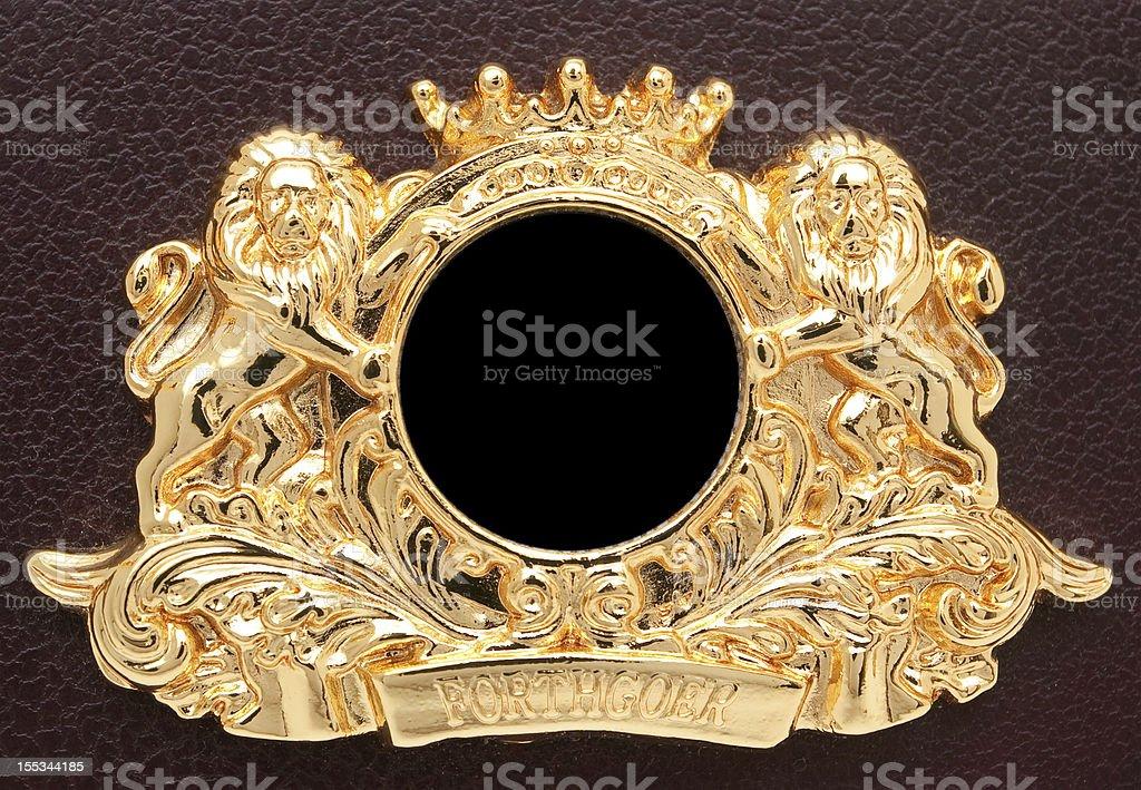 Gold Lion Crest stock photo