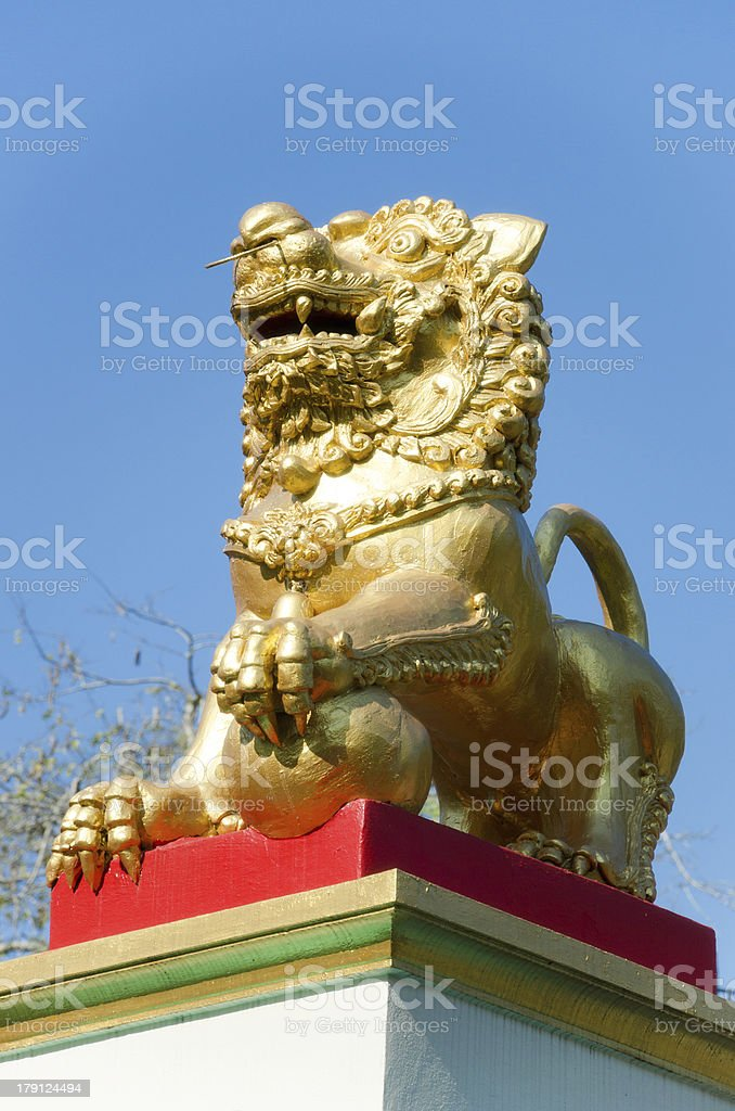 gold lion statue royalty-free stock photo
