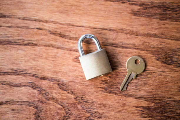 Gold Lock and Key stock photo
