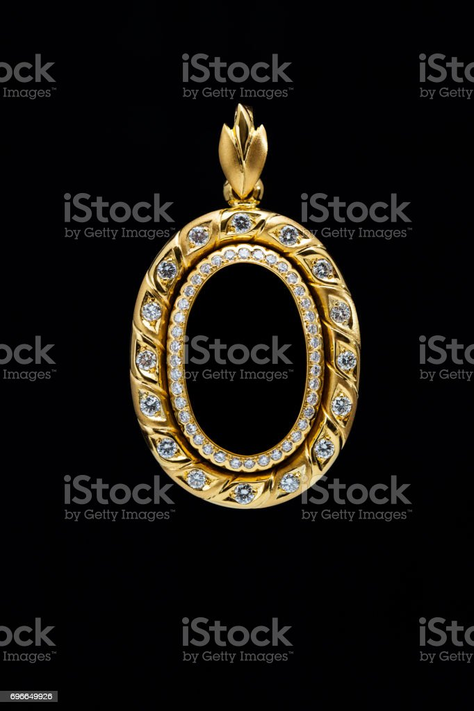 Gold Locket Frame Pendant With Diamond Stock Photo & More Pictures ...