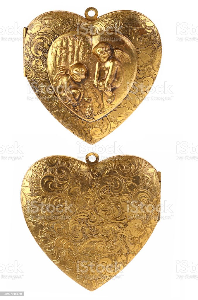 Gold Locket Heart Charm with Cherubs stock photo