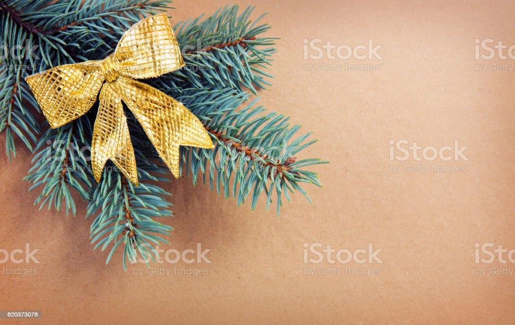 Gold loop on green spruce branch isolated . zbiór zdjęć royalty-free