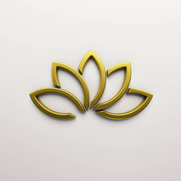goldene lotus blume hintergrund. 3d render-illustration - buddhist tattoos stock-fotos und bilder