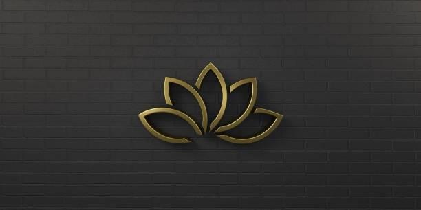 Guld lotusblomma i svart bakgrund. 3D Render Illustration bildbanksfoto
