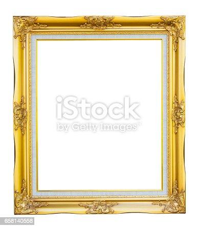 Gold louise photo frame on white background
