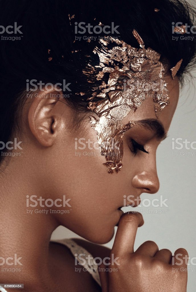 Gold make up stock photo