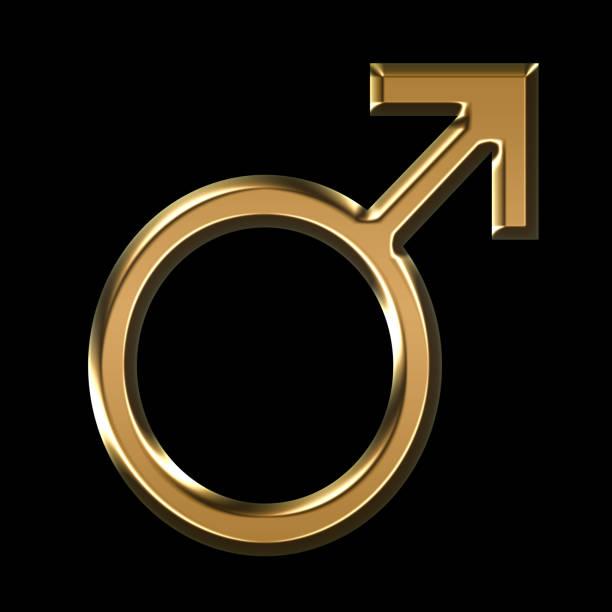 ilustração do símbolo masculino ouro sobre fundo preto - foto de acervo