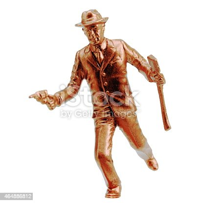 istock Gold Man Running With Gun and Axe 464886812