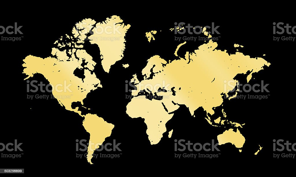 gold map on dark background stock photo