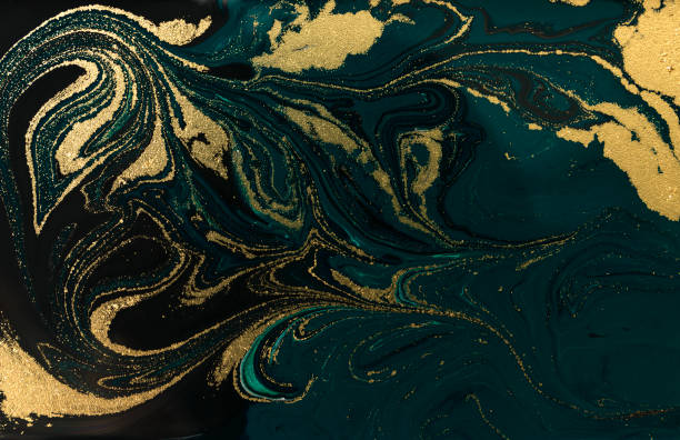 Gold marbling texture design. Blue and golden marble pattern. Fluid art. – zdjęcie