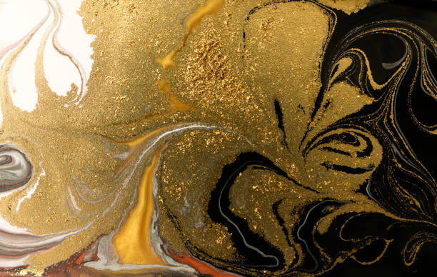 Gold marbling texture design. Golden marble pattern. Fluid art. – zdjęcie